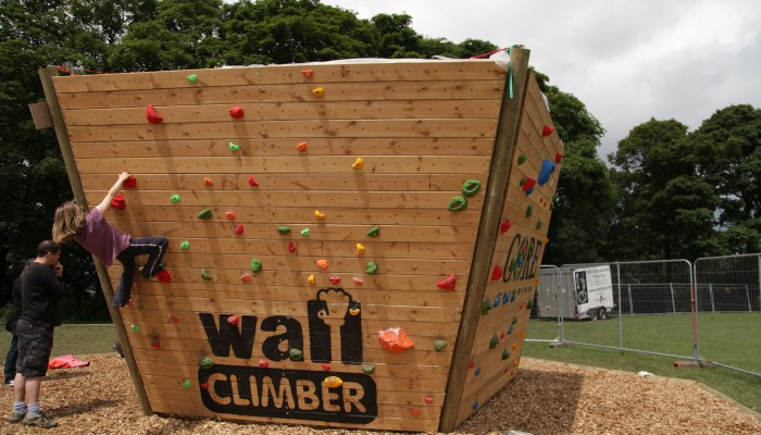 Outdoor rock climbing wall
